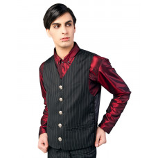 Aderlass Dark Veste Pin Stripe (Black-and-white)