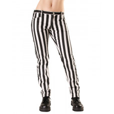 Black Pistol Close Pants Stripe Denim (Black-and-white)
