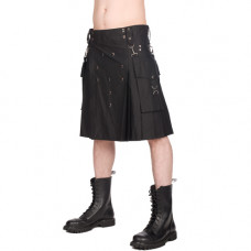 Black Pistol Button Kilt Denim (black)