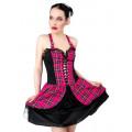 Black Pistol Punk Mini Dress Tartan (Pink)
