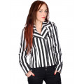 Black Pistol Biker Lady Jacket Stripe Denim (Black-and-white)