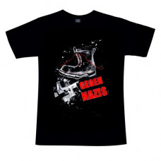 Mode Wichtig T-Shirt Gegen Nazis Stiefel (black)
