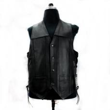 Mode Wichtig Biker Vest Nubuk Leather (black)