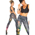 ATIXO Jeans-Print-Leggings (black)