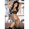 BEAUTYS LOVE Straps-String-Body (black / turquoise)
