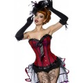 VARIOUS Burlesque-Satin-Corsage (Red Black)