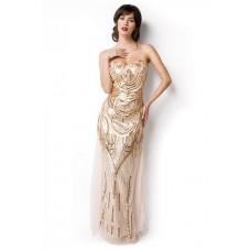 VARIOUS Abendkleid (beige / gold)